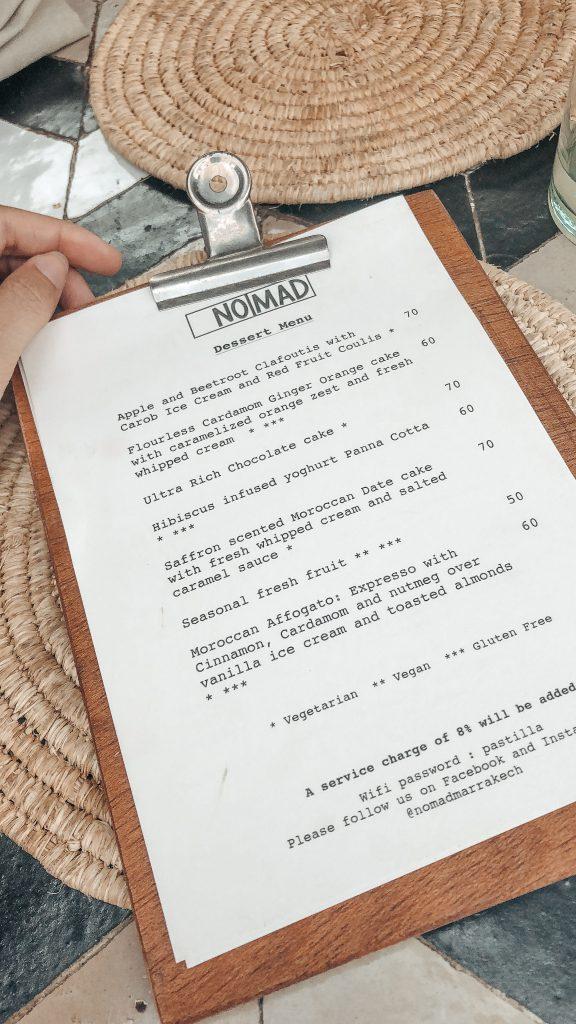 Marrakesch Restaurant Nomad Speisekarte